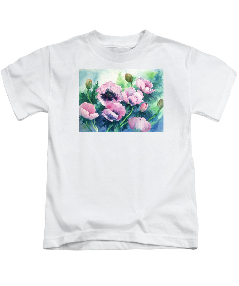 Poppies;floral;flowers;pink;garden; Kids T-Shirt featuring the painting Mother's Prize Poppies by Lois Mountz
