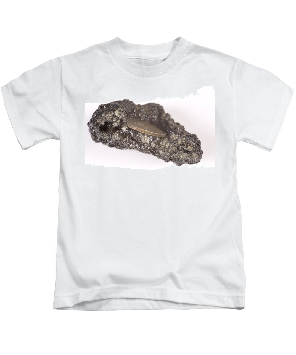Volcano Kids T-Shirt featuring the photograph Mount Etna Souvenir Coin In Lava by Ted Kinsman