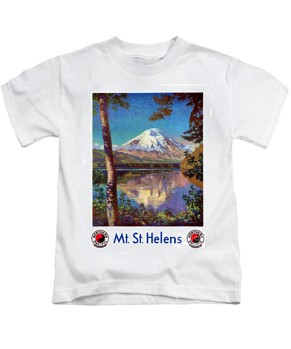 Mount Kids T-Shirt featuring the painting Mount Saint Helens Vintage Travel Poster Restored by Carsten Reisinger