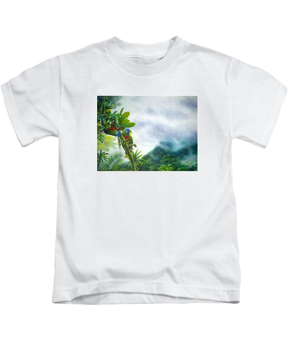 Chris Cox Kids T-Shirt featuring the painting Mountain High - St. Lucia Parrots by Christopher Cox
