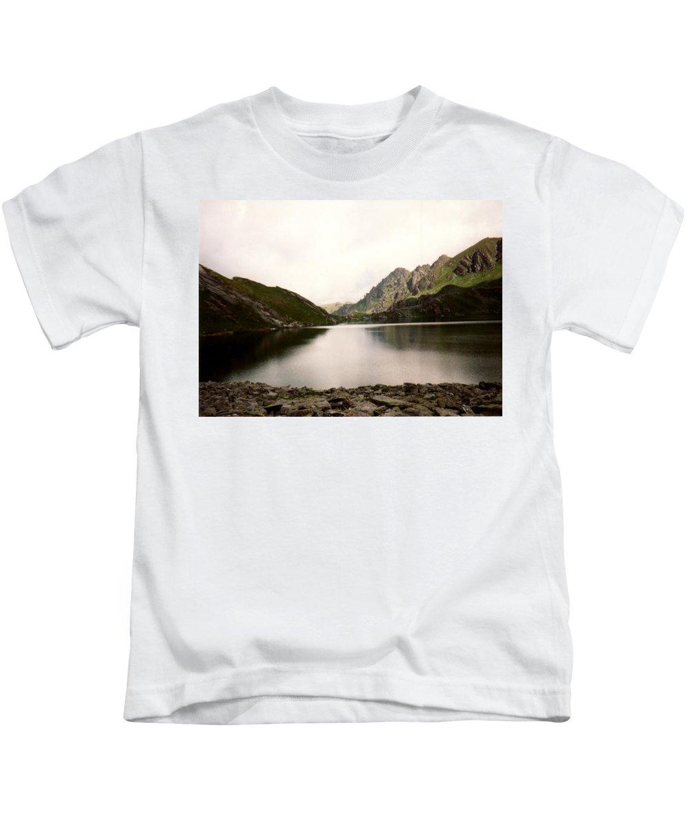 Mountain Lake Kids T-Shirt featuring the photograph Mountain Lake by Catt Kyriacou