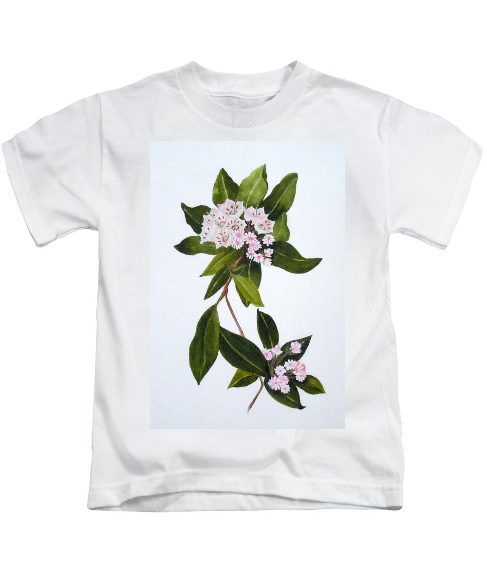 Mountain Laurel Kids T-Shirt featuring the painting Mountain Laurel by Jean Blackmer