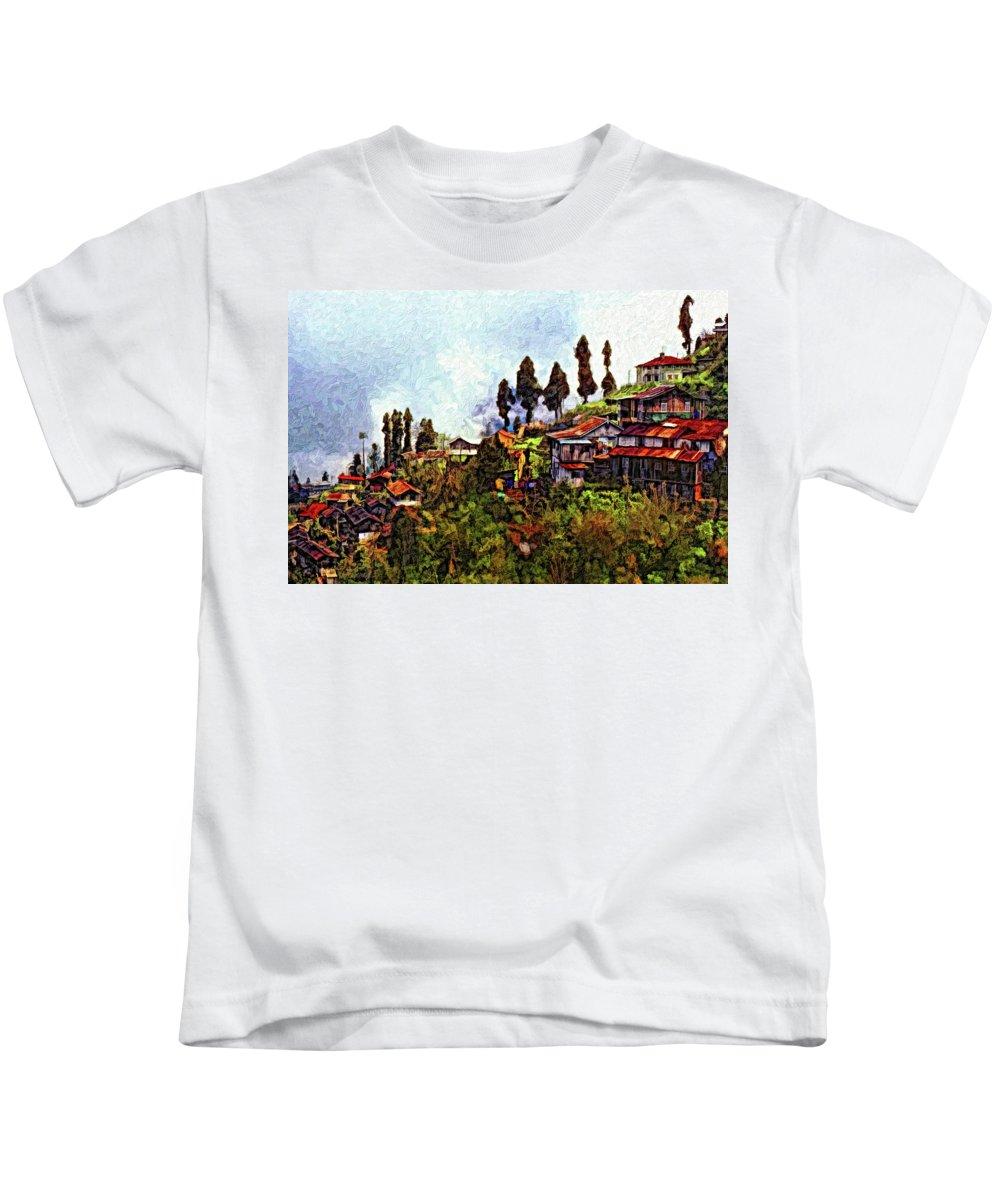 Darjeeling Kids T-Shirt featuring the photograph Mountain Living Impasto by Steve Harrington