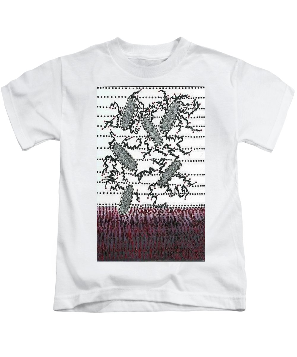 Moveonart! Digital Gallery Kids T-Shirt featuring the painting Moveonart Intrusive by Jacob Kanduch