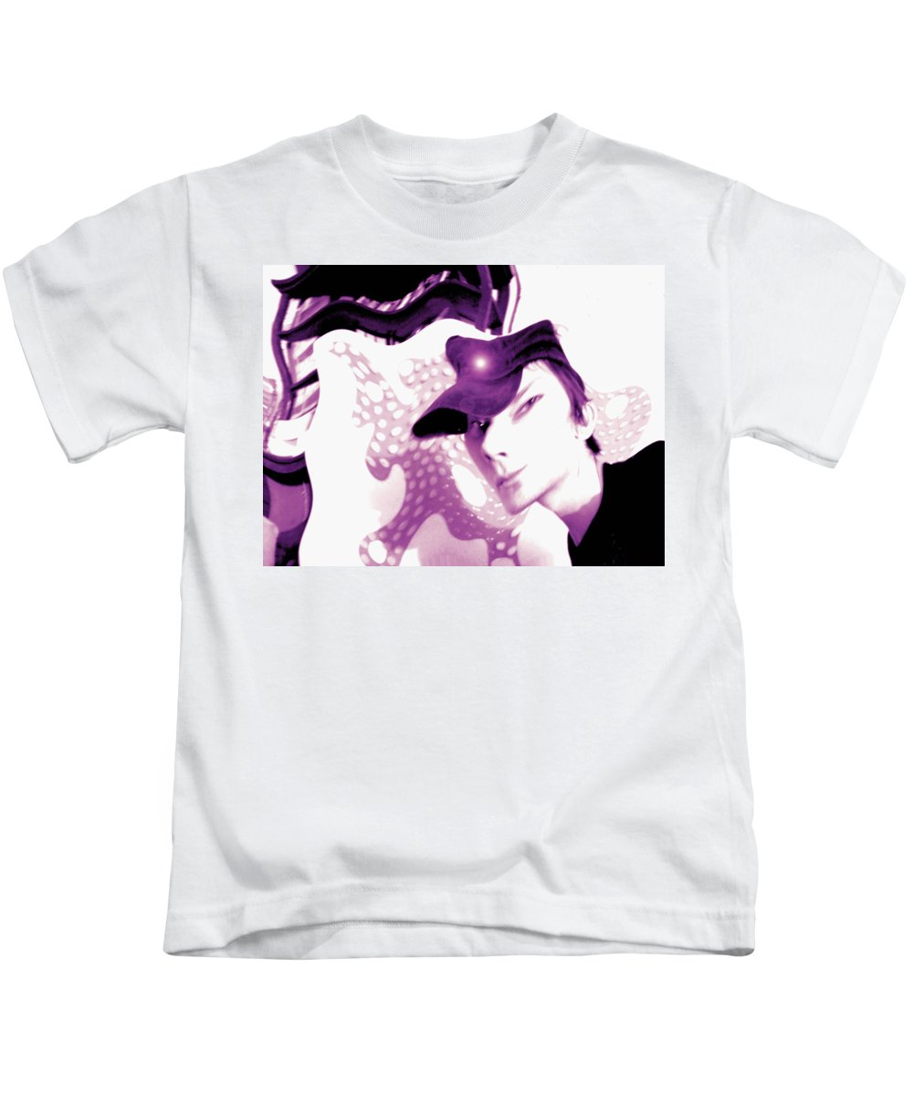 Moveonart! Digital Gallery Kids T-Shirt featuring the digital art Moveonart Jacob In His Underground Art Gallery by Jacob Kanduch