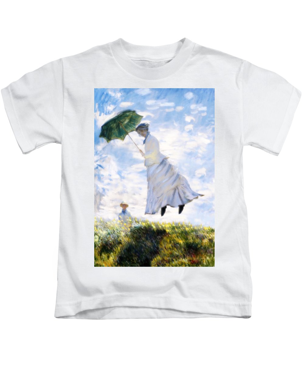 Camille Monet Kids T-Shirt featuring the painting Ms Monet Blown Away by Gravityx9 Designs