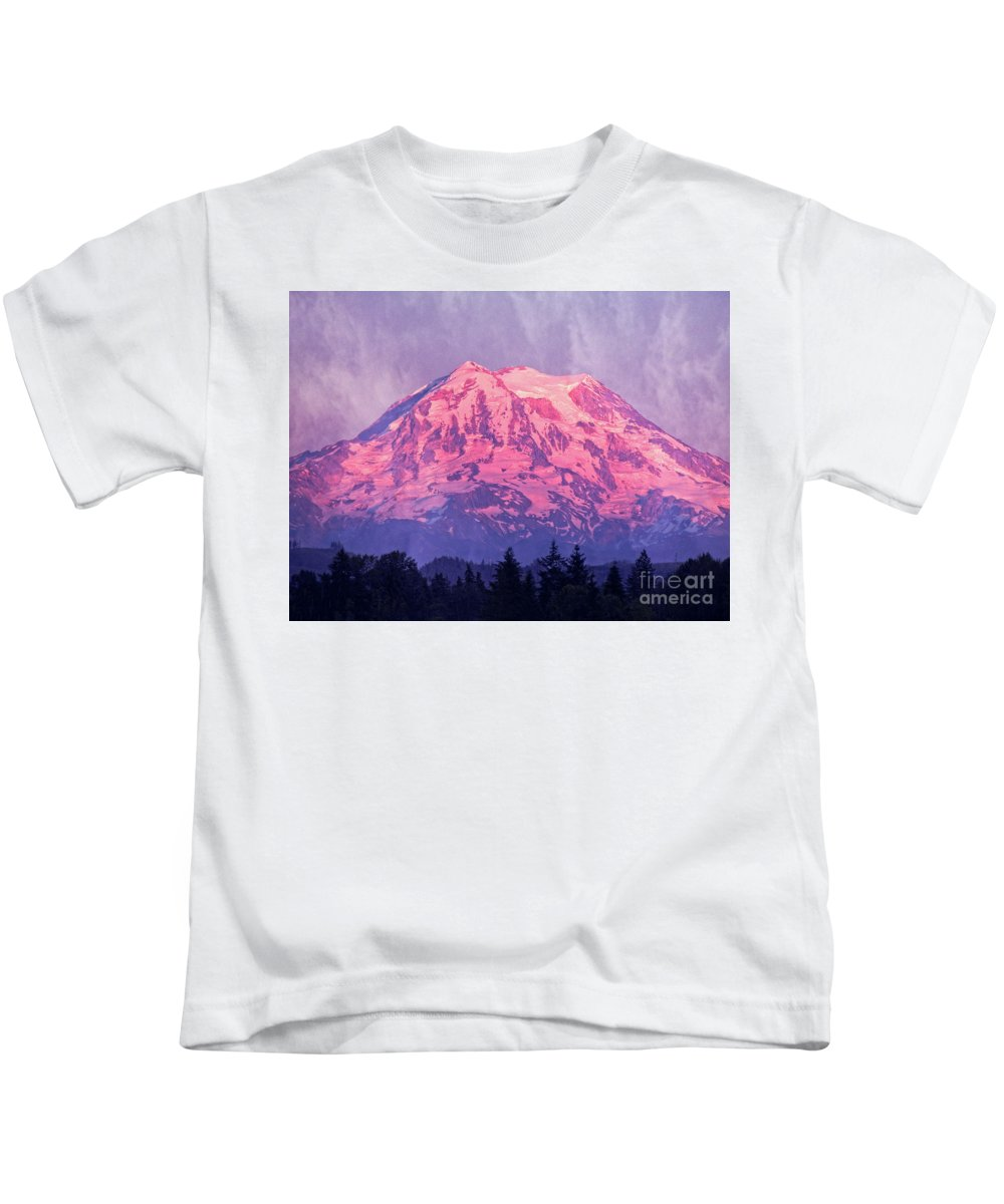 Mt. Rainier Kids T-Shirt featuring the photograph Mt. Rainier by Jim And Emily Bush