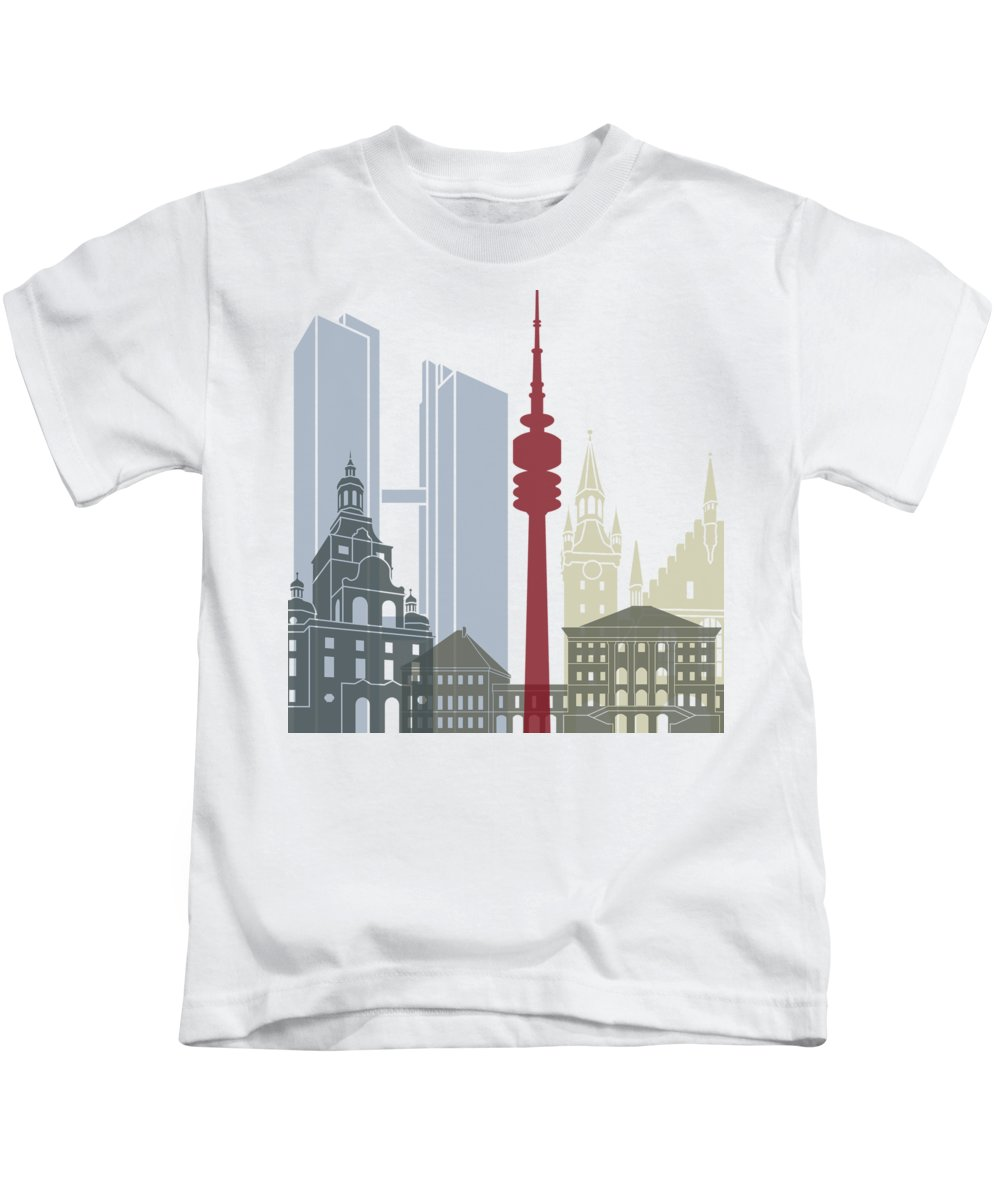 Europe Kids T-Shirt featuring the painting Munich Skyline Poster by Pablo Romero