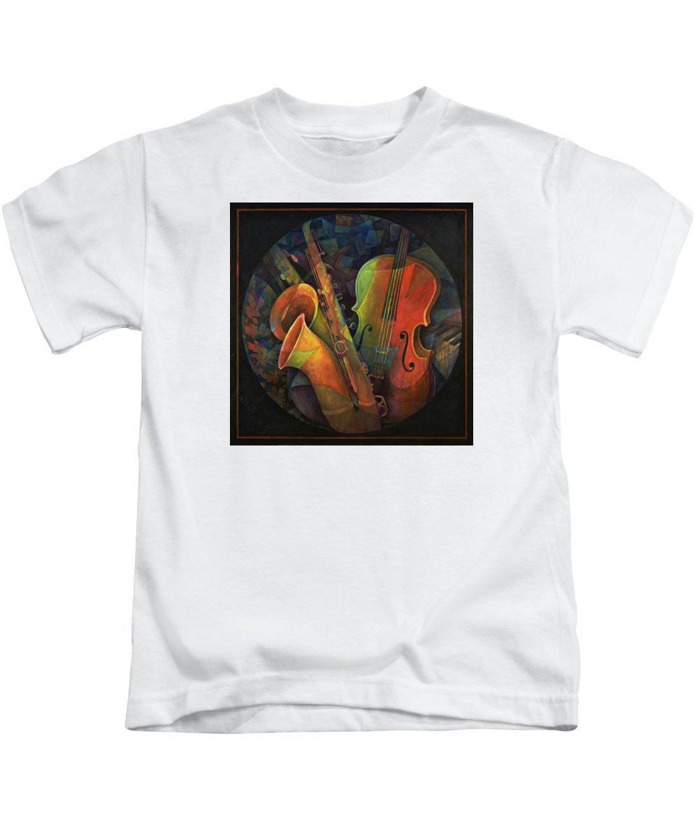 Susanne Clark Kids T-Shirt featuring the painting Musical Mandala - Features Cello And Sax's by Susanne Clark