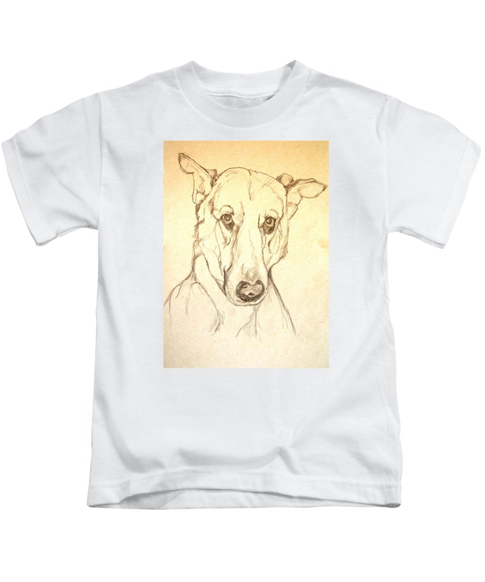 Pet Kids T-Shirt featuring the drawing My Boy Joshua by Jolante Hesse