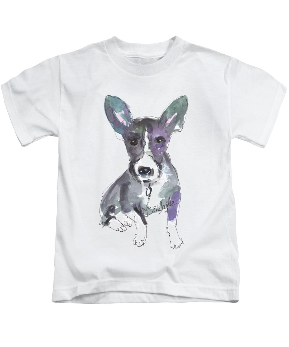 Ultra Violet Art Kids T-Shirt featuring the painting My Dog Ultra Violet by Kathleen McElwaine