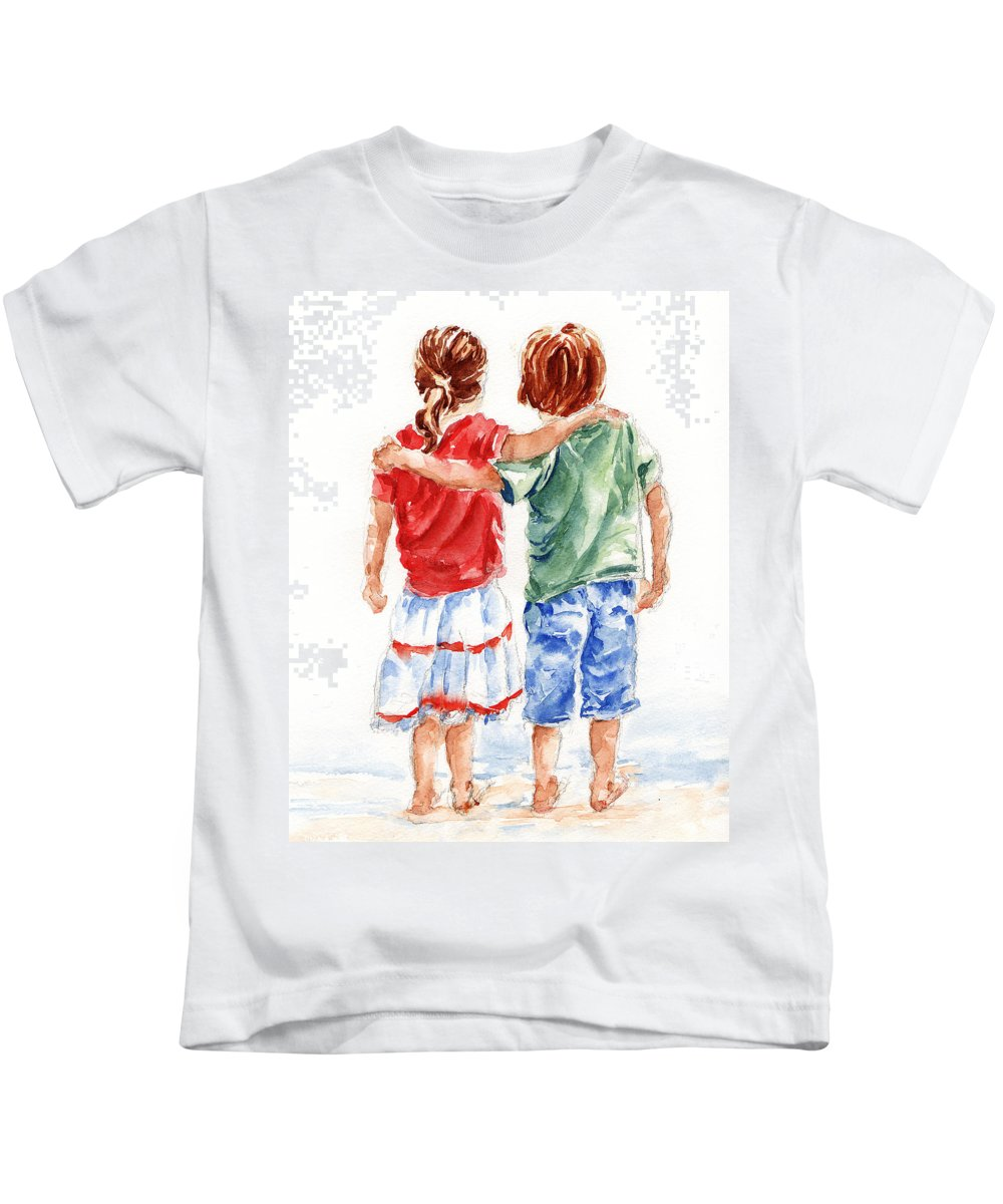 Watercolour Kids T-Shirt featuring the painting My Friend by Stephie Butler
