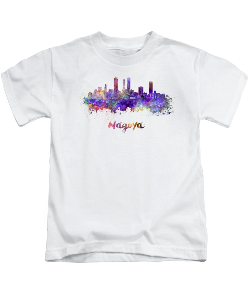 Nagoya Kids T-Shirt featuring the painting Nagoya Skyline In Watercolor by Pablo Romero