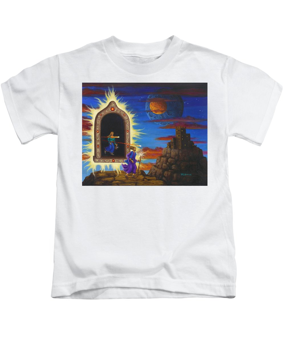 Fantasy Kids T-Shirt featuring the painting Narrow Escape by Roz Eve