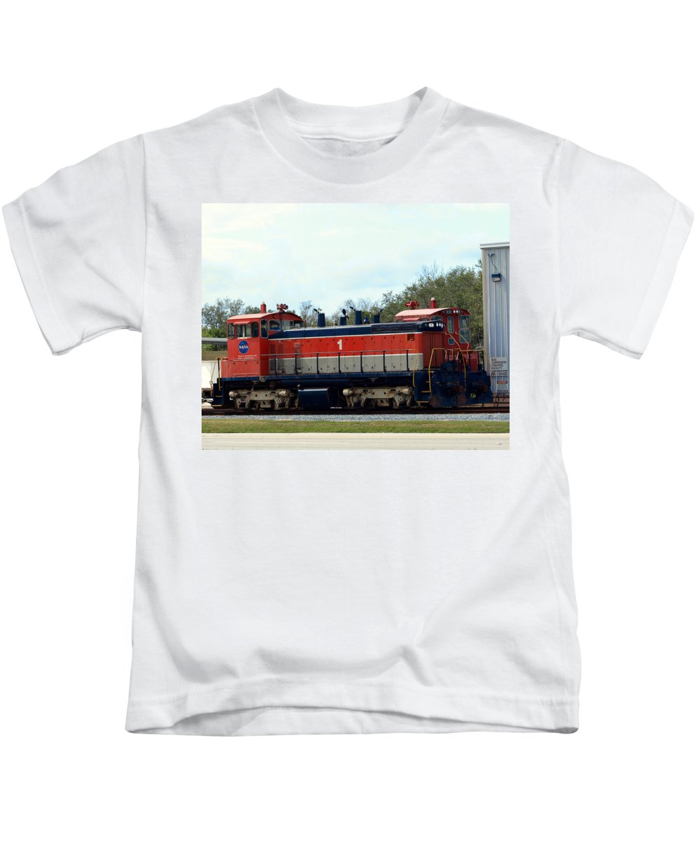 Airforce; Air Force; Air; Force; U.s.; Locomotive; Engine; Rail; Road; Railroad; Railway; Train; Gro Kids T-Shirt featuring the photograph Nasa Space Shuttle Railroad by Allan Hughes