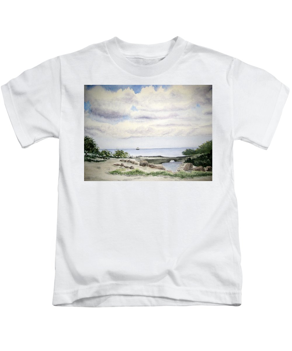 Natalie Kids T-Shirt featuring the painting Natalie's Beach by Julia RIETZ