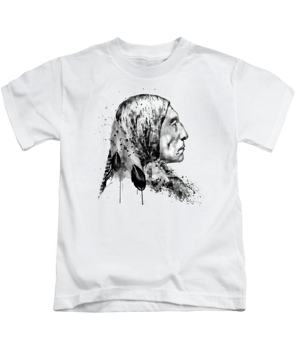 Native American Kids T-Shirt featuring the painting Native American Side Face Black And White by Marian Voicu