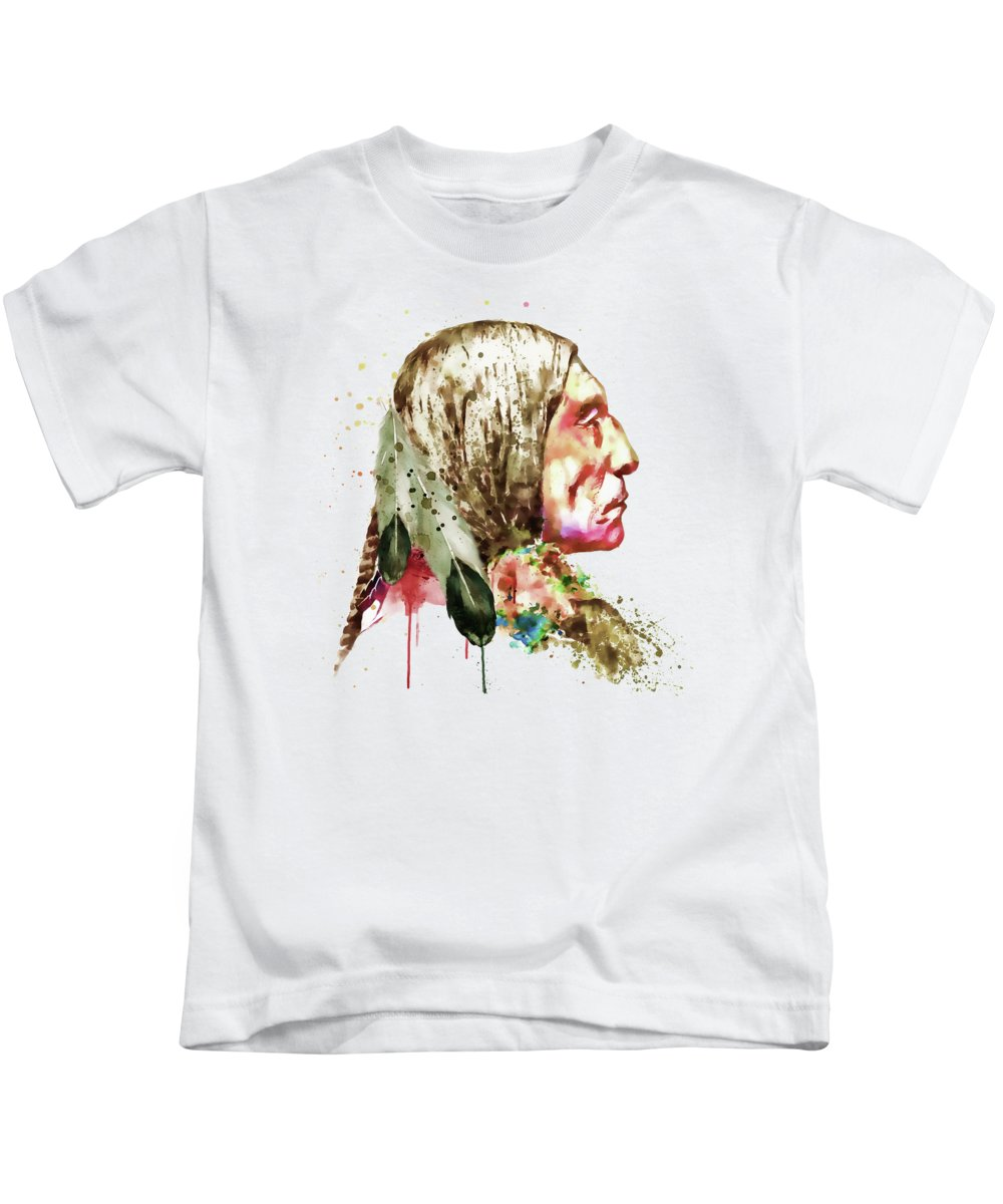 Native American Kids T-Shirt featuring the painting Native American Side Face by Marian Voicu