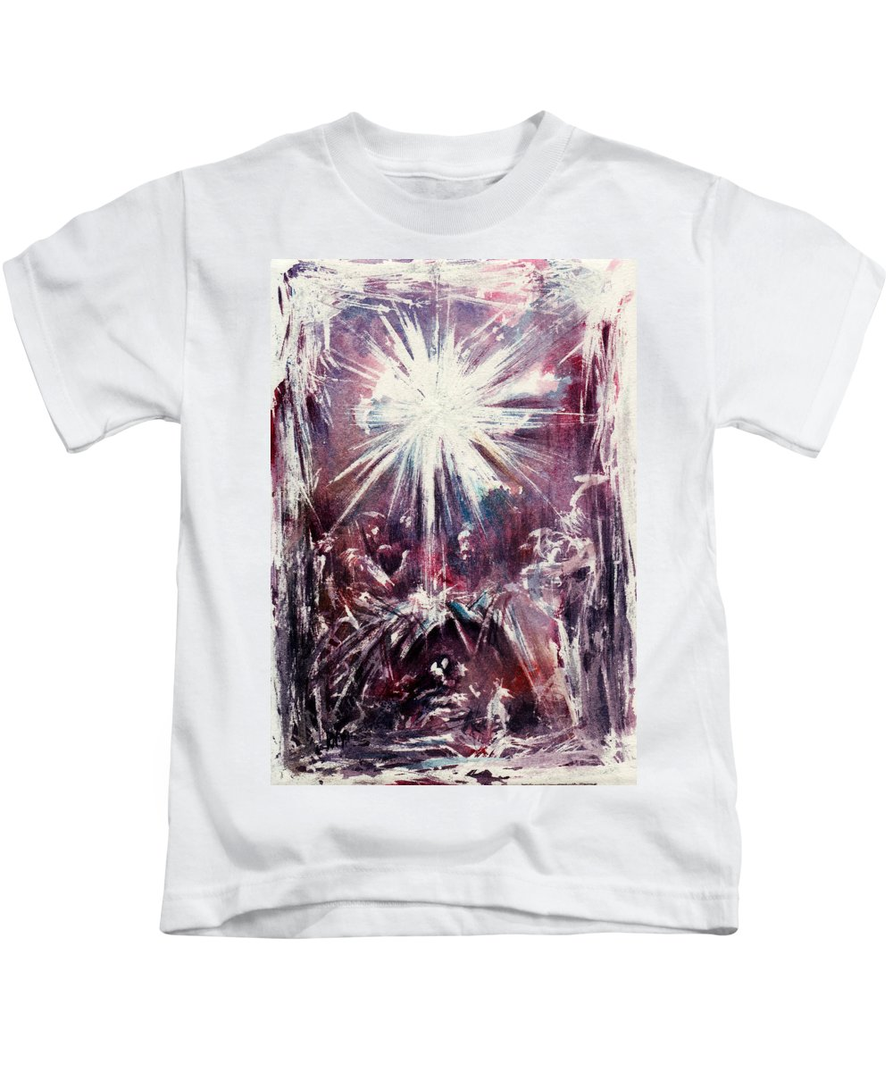 Nativity Kids T-Shirt featuring the painting Nativity 1 by Rachel Christine Nowicki
