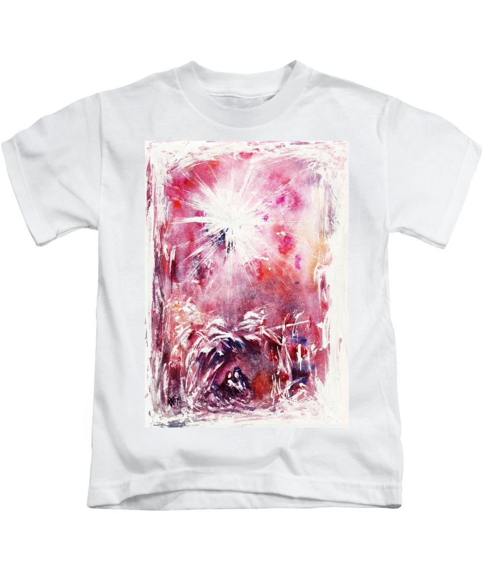 Nativity Kids T-Shirt featuring the painting Nativity 5 by Rachel Christine Nowicki