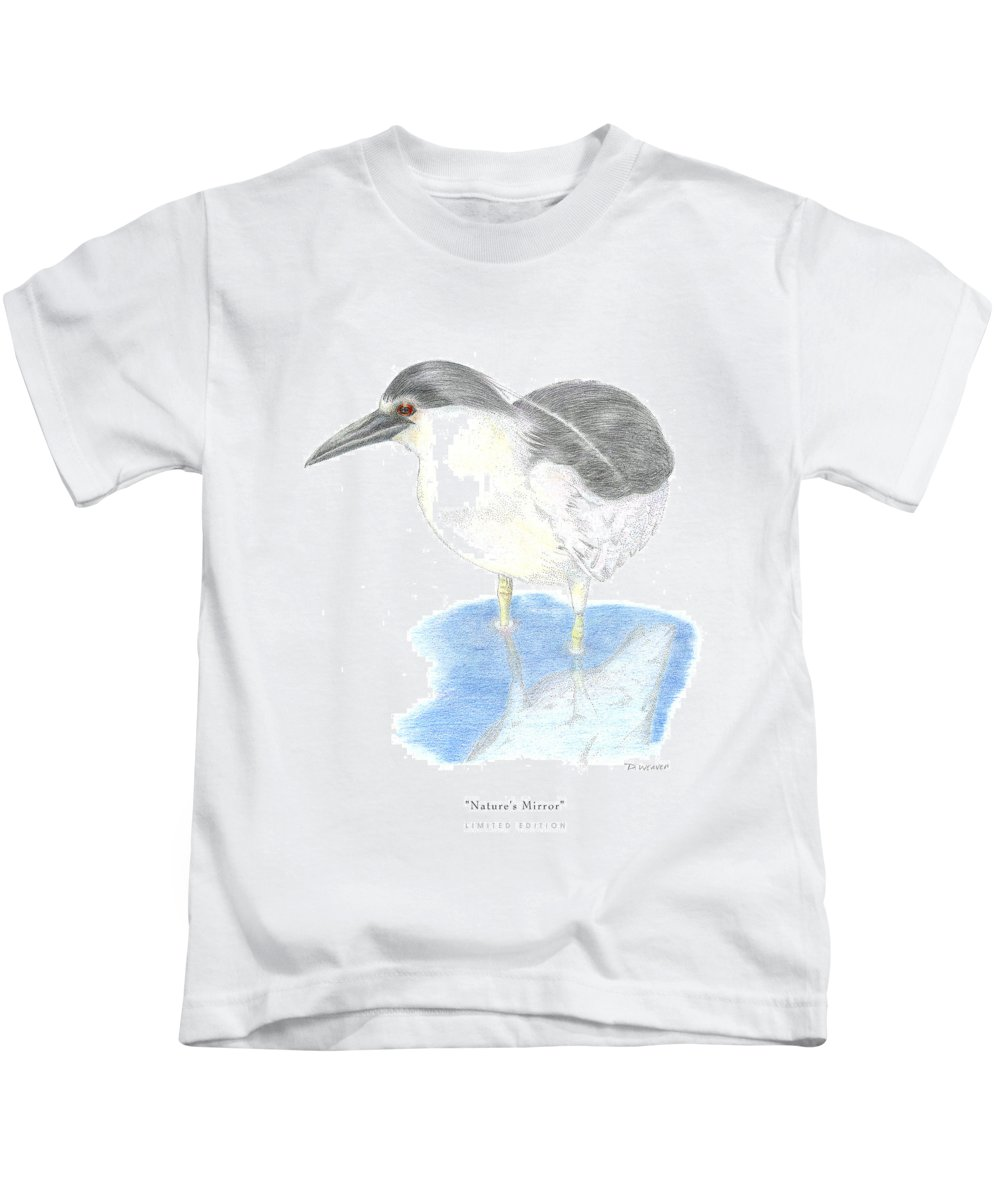 Black Heron In Water Kids T-Shirt featuring the drawing Nature by David Weaver