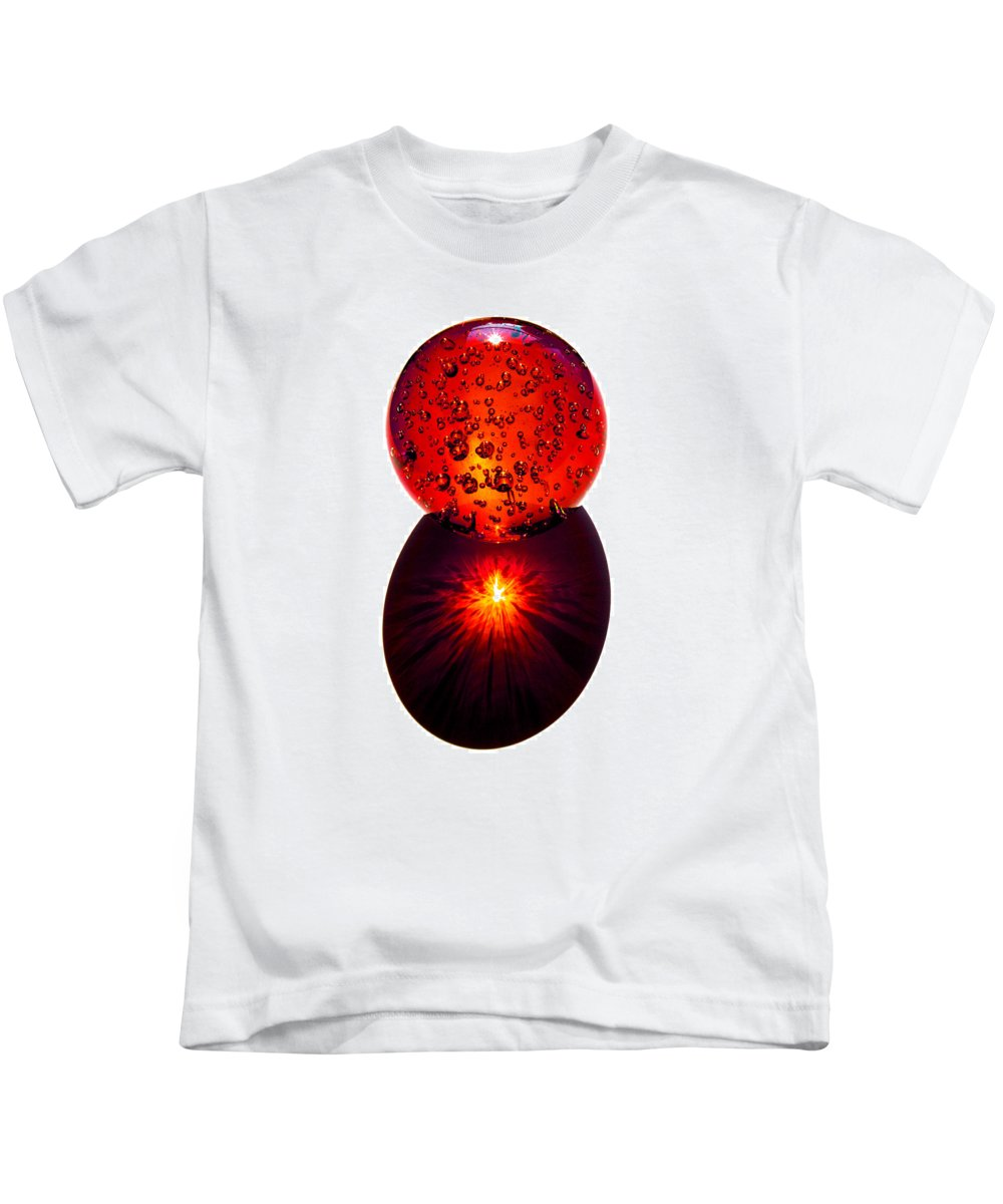 Fire; Sunset; Sunrise; Rays; Sun; Refracting; Gold; Golden; Glass; Ball; Bubbles; Sphere; Strong; Re Kids T-Shirt featuring the photograph Nature Through My Crystal Ball by Allan Hughes