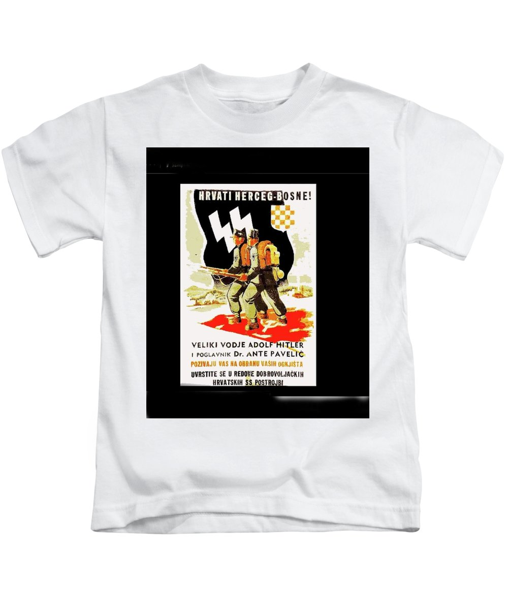 Nazi Allies Anti Soviet Propaganda Poster Circa 1942 Color Added 2016 Kids T-Shirt featuring the photograph Nazi Allies Anti Soviet Propaganda Poster Circa 1942 Color Added 2016 by David Lee Guss
