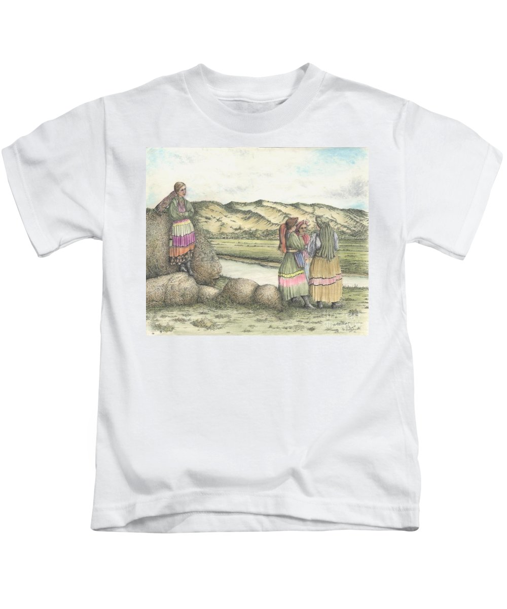Drawing Kids T-Shirt featuring the mixed media Negotiations by Michael Stanford