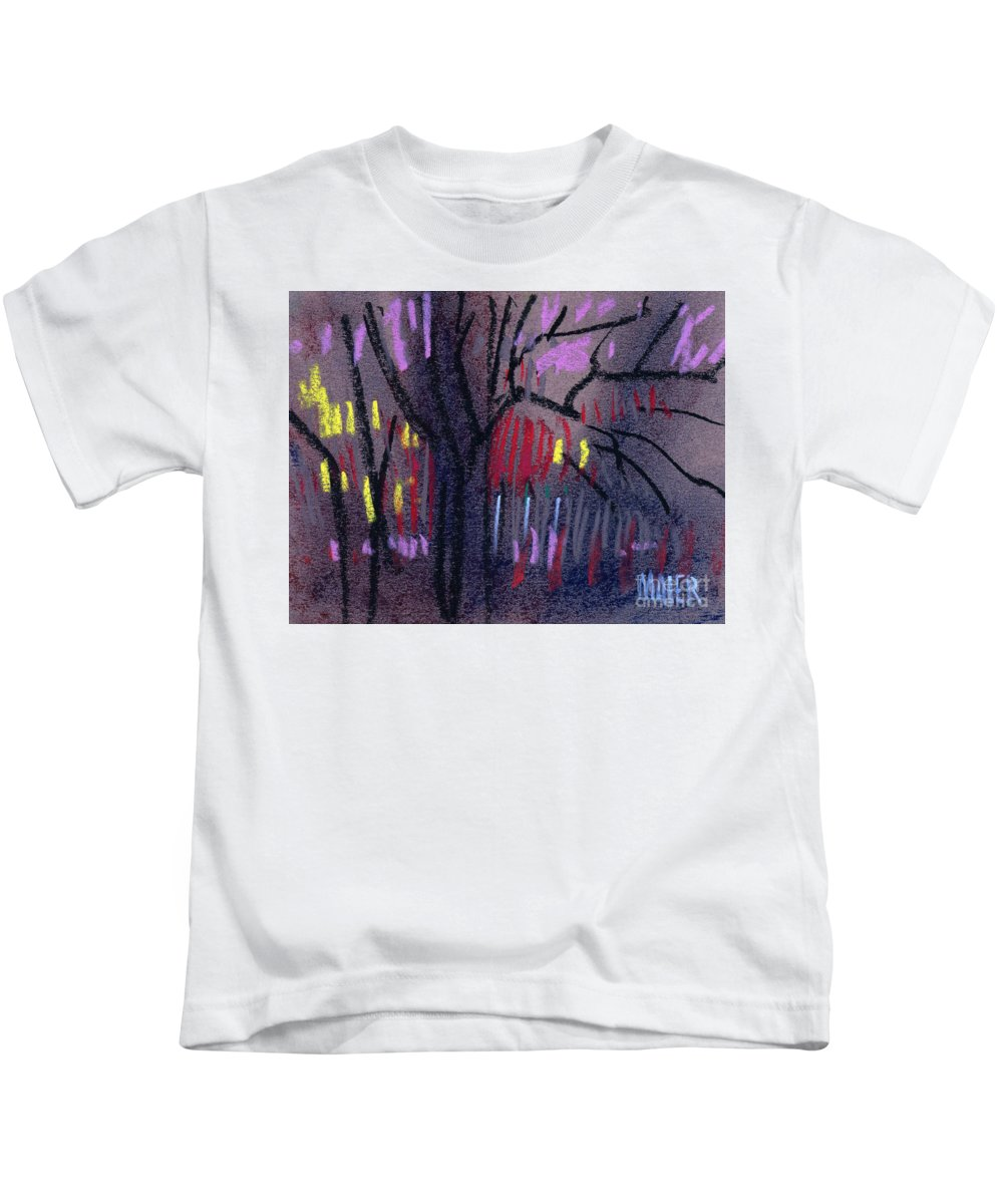 Abstract Kids T-Shirt featuring the drawing Neighbor's Lights by Donald Maier