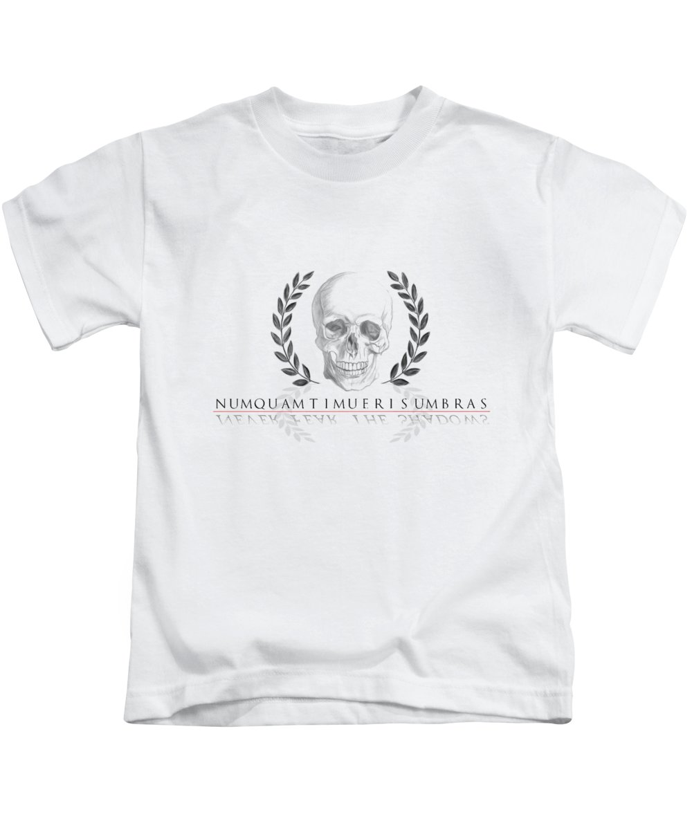 Skull Kids T-Shirt featuring the digital art Never Fear The Shadows Stoic Skull With Laurels by Angela Rath
