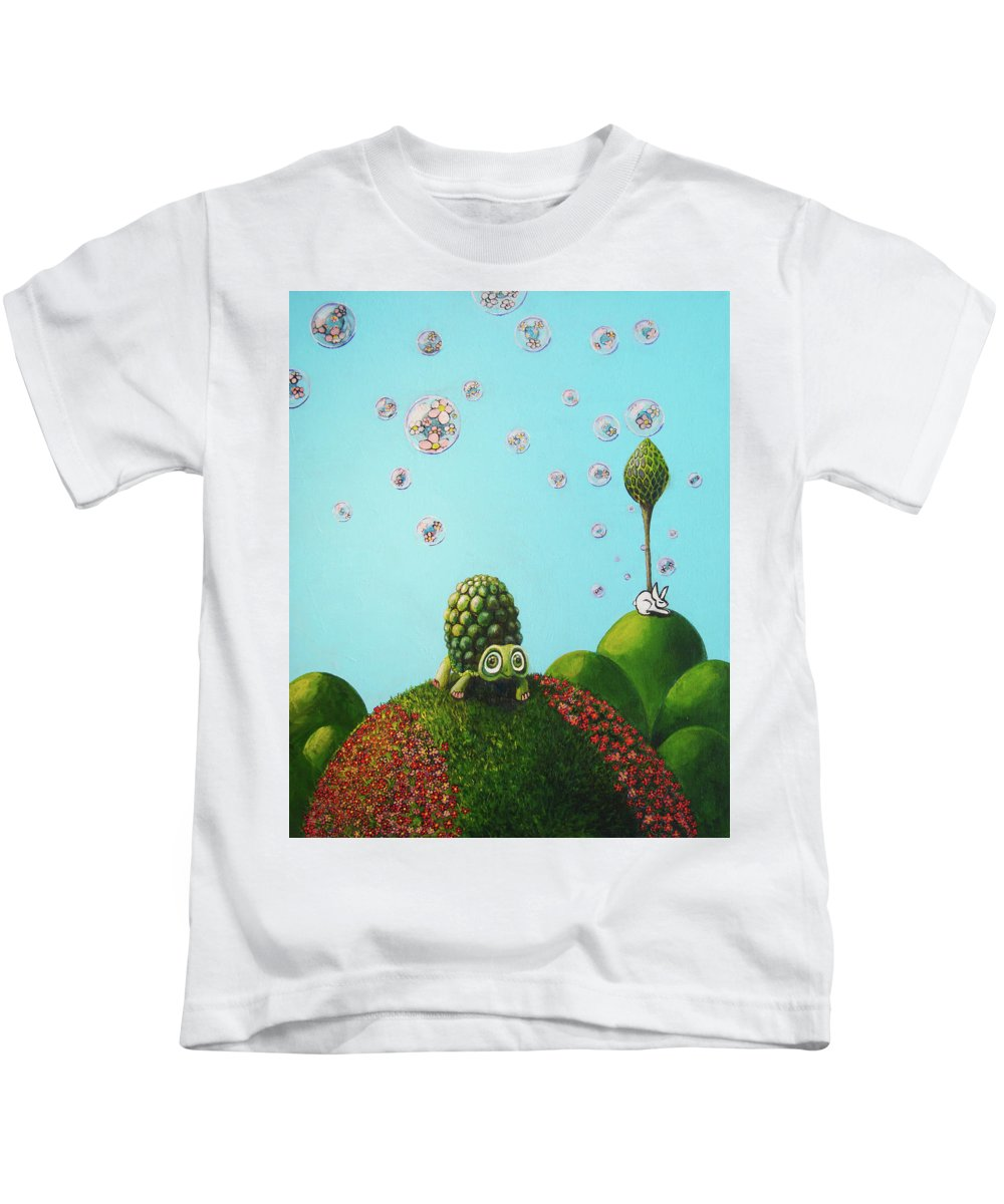 Turtle Kids T-Shirt featuring the painting Never Give Up by Mindy Huntress