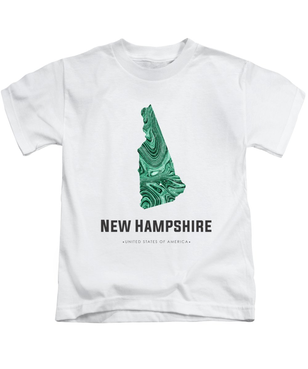 New Hampshire Kids T-Shirt featuring the mixed media New Hampshire Map Art Abstract In Blue Green by Studio Grafiikka
