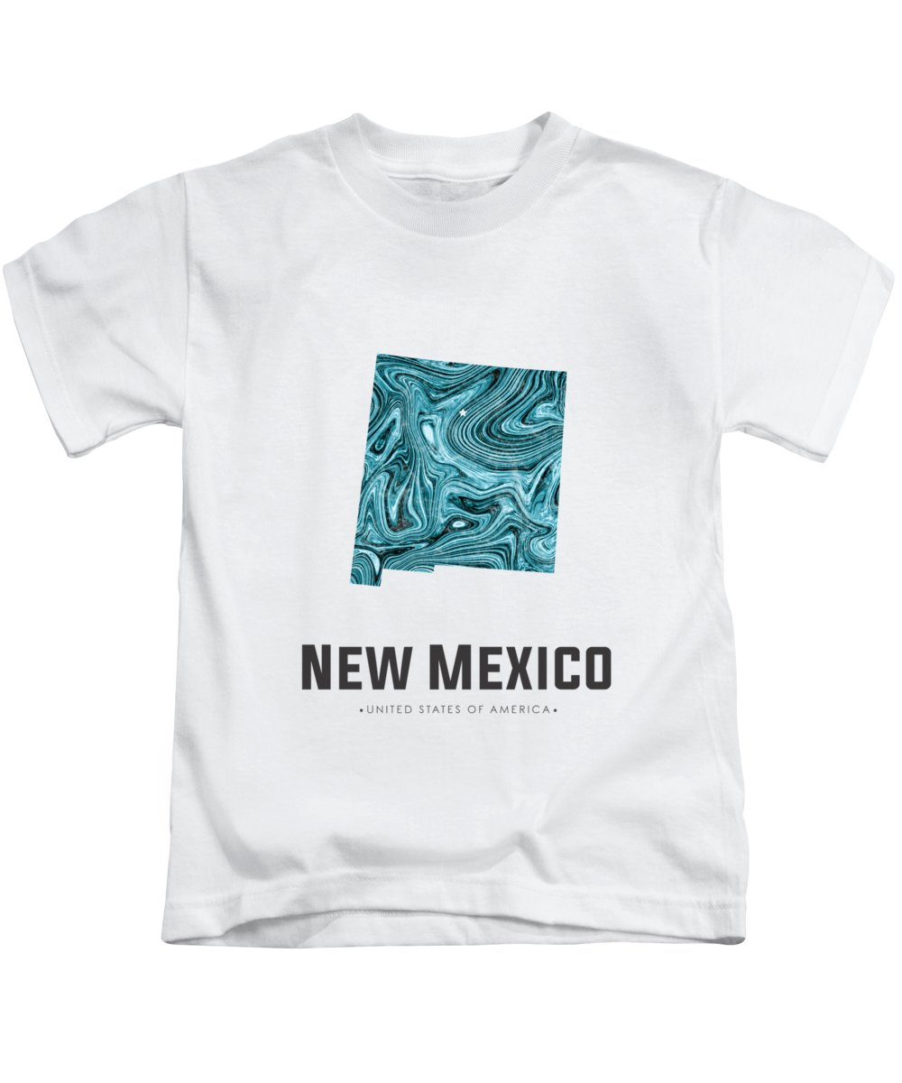 New Mexico Kids T-Shirt featuring the mixed media New Mexico Map Art Abstract in Blue by Studio Grafiikka