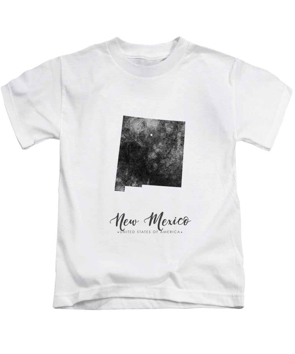 New Mexico Kids T-Shirt featuring the mixed media New Mexico State Map Art - Grunge Silhouette by Studio Grafiikka