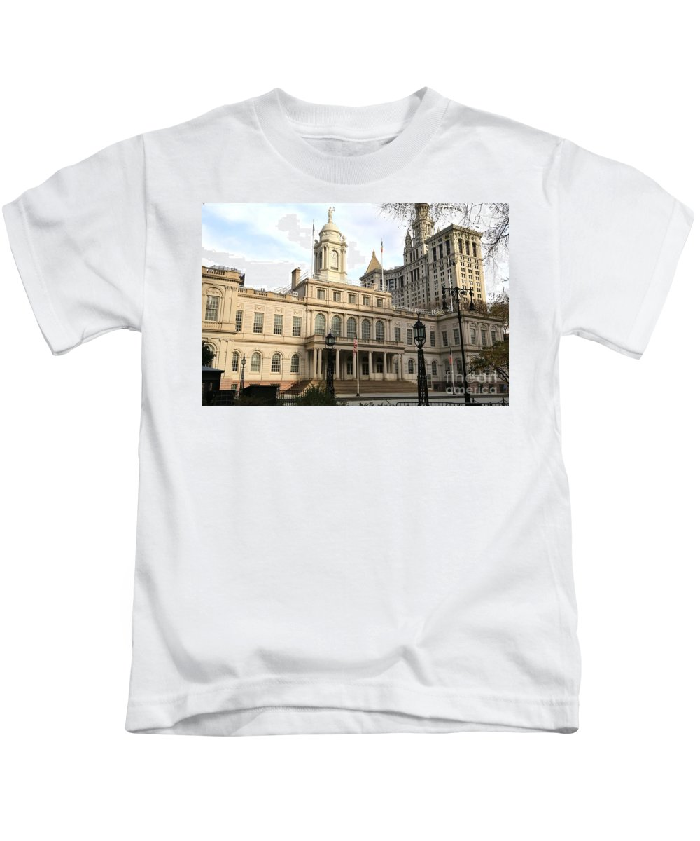 Destination Kids T-Shirt featuring the photograph New York City Hall by Douglas Sacha