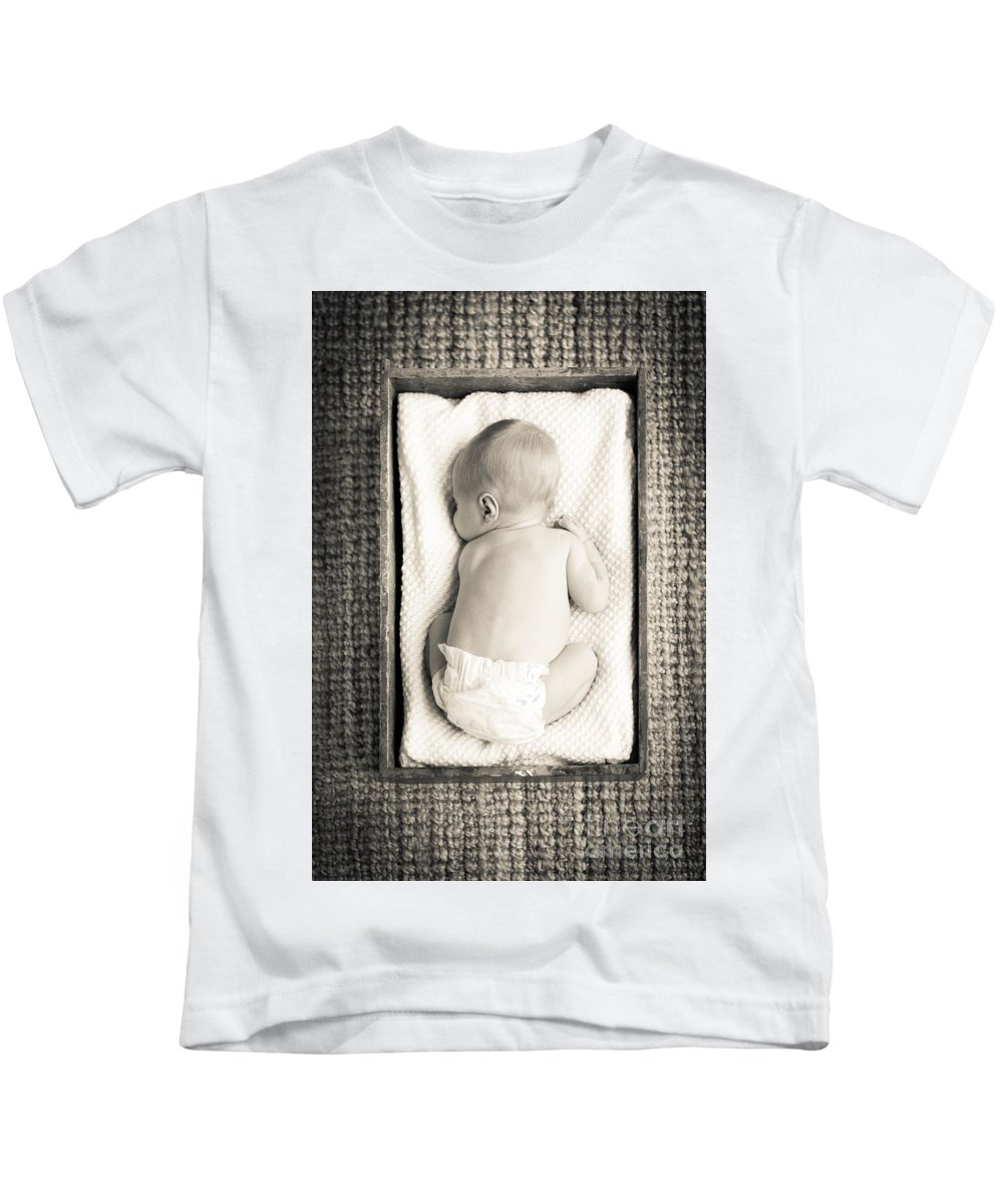 Baby Kids T-Shirt featuring the photograph Newborn Baby In Crate Filtered by Tim Hester
