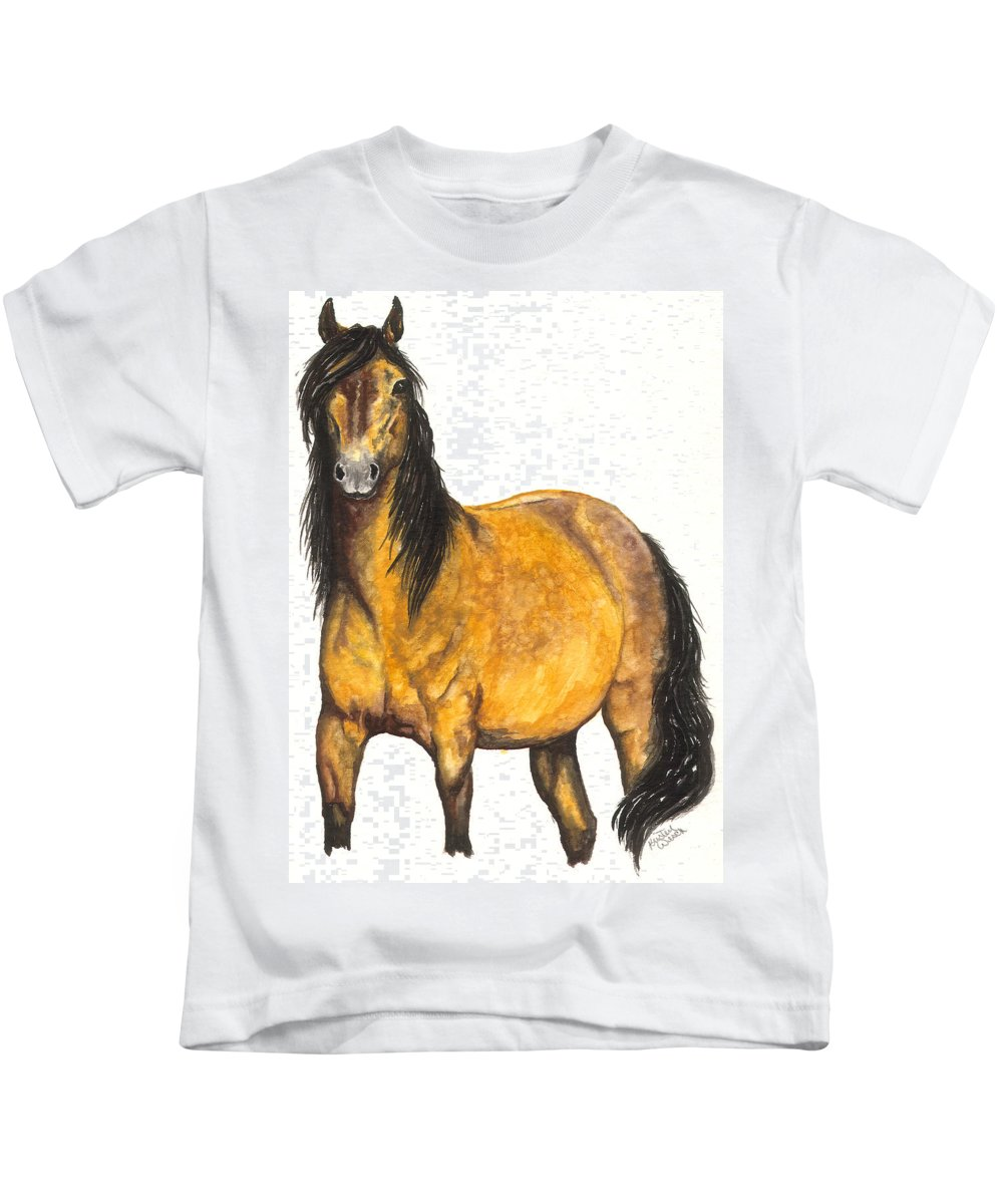 Horse Kids T-Shirt featuring the painting Nifty by Kristen Wesch