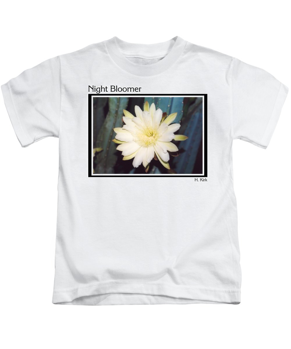 Night Bloomer Cereus Bloom White Green Organ Pipe Kids T-Shirt featuring the photograph Night Bloomer Posters by Heather Kirk