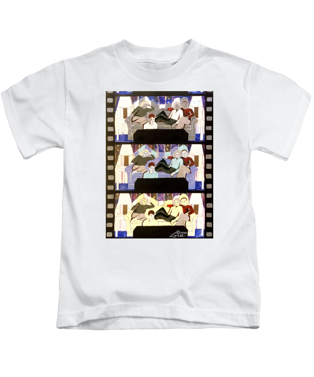 Family Kids T-Shirt featuring the painting Nightlight by Sharron Loree