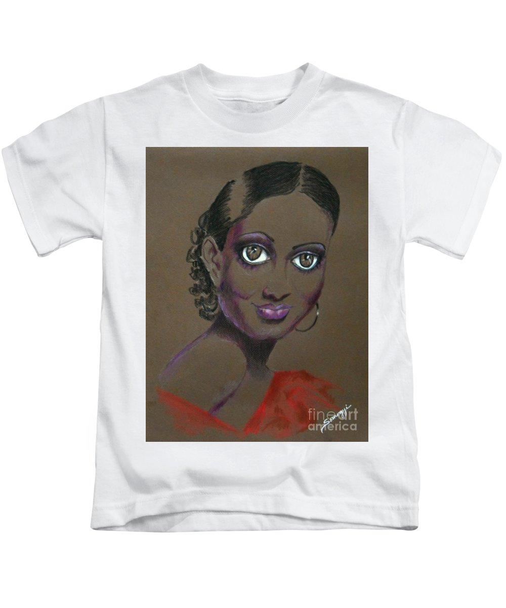 African-american Film Star Kids T-Shirt featuring the drawing Nina Mae -- African-american Actress Portrait by Jayne Somogy