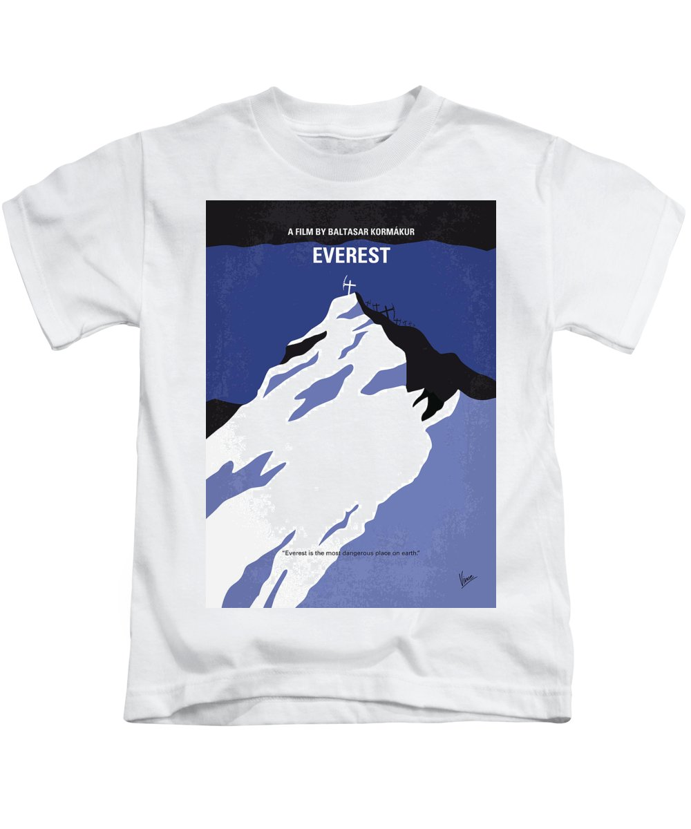 Everest Kids T-Shirt featuring the digital art No492 My Everest Minimal Movie Poster by Chungkong Art
