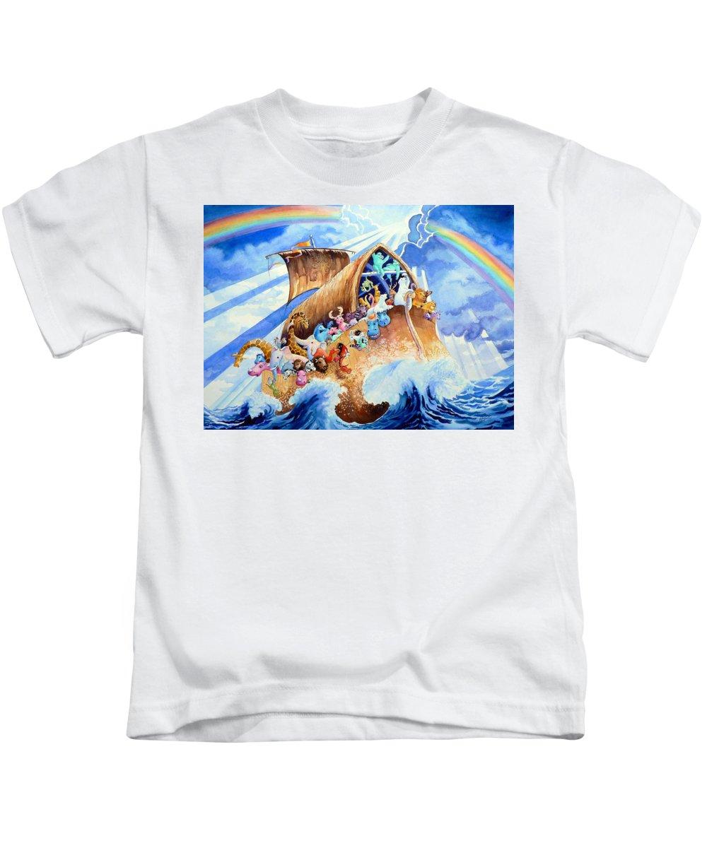 Noahs Arc Mural Kids T-Shirt featuring the painting Noahs Ark by Hanne Lore Koehler