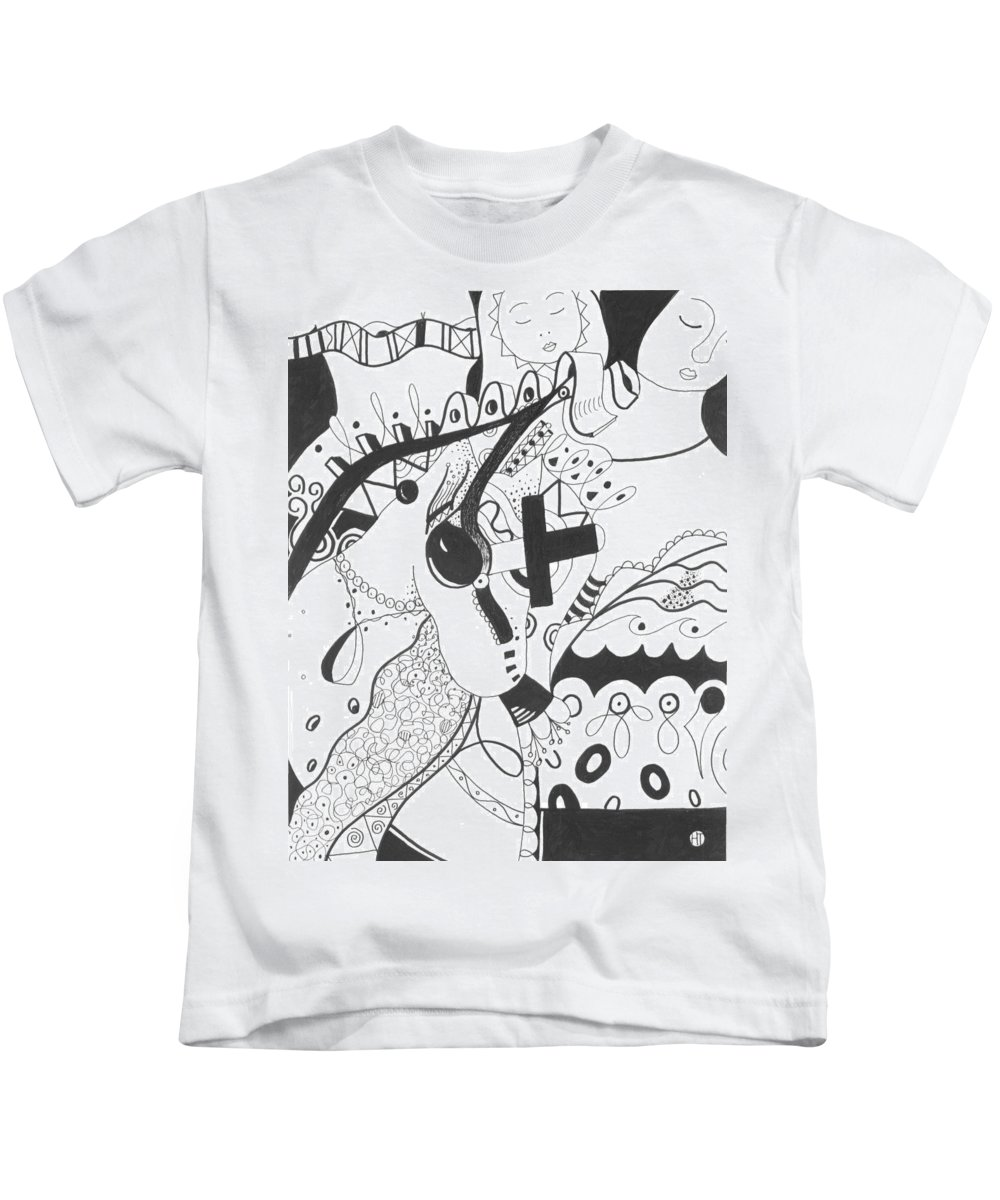 Animal Kids T-Shirt featuring the drawing Nobody Really Knows by Helena Tiainen