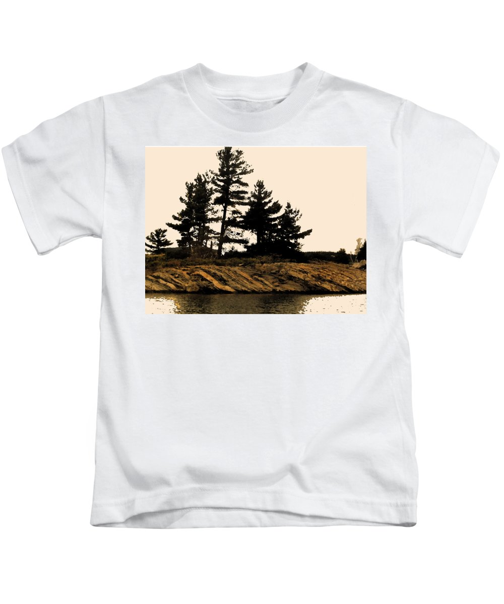 Pine Kids T-Shirt featuring the digital art Northern Silhouette by Ian MacDonald