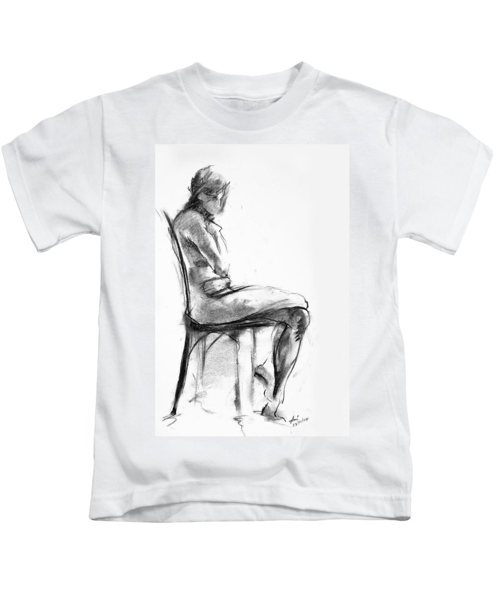 Nude Kids T-Shirt featuring the drawing Nude 1 by Ani Gallery