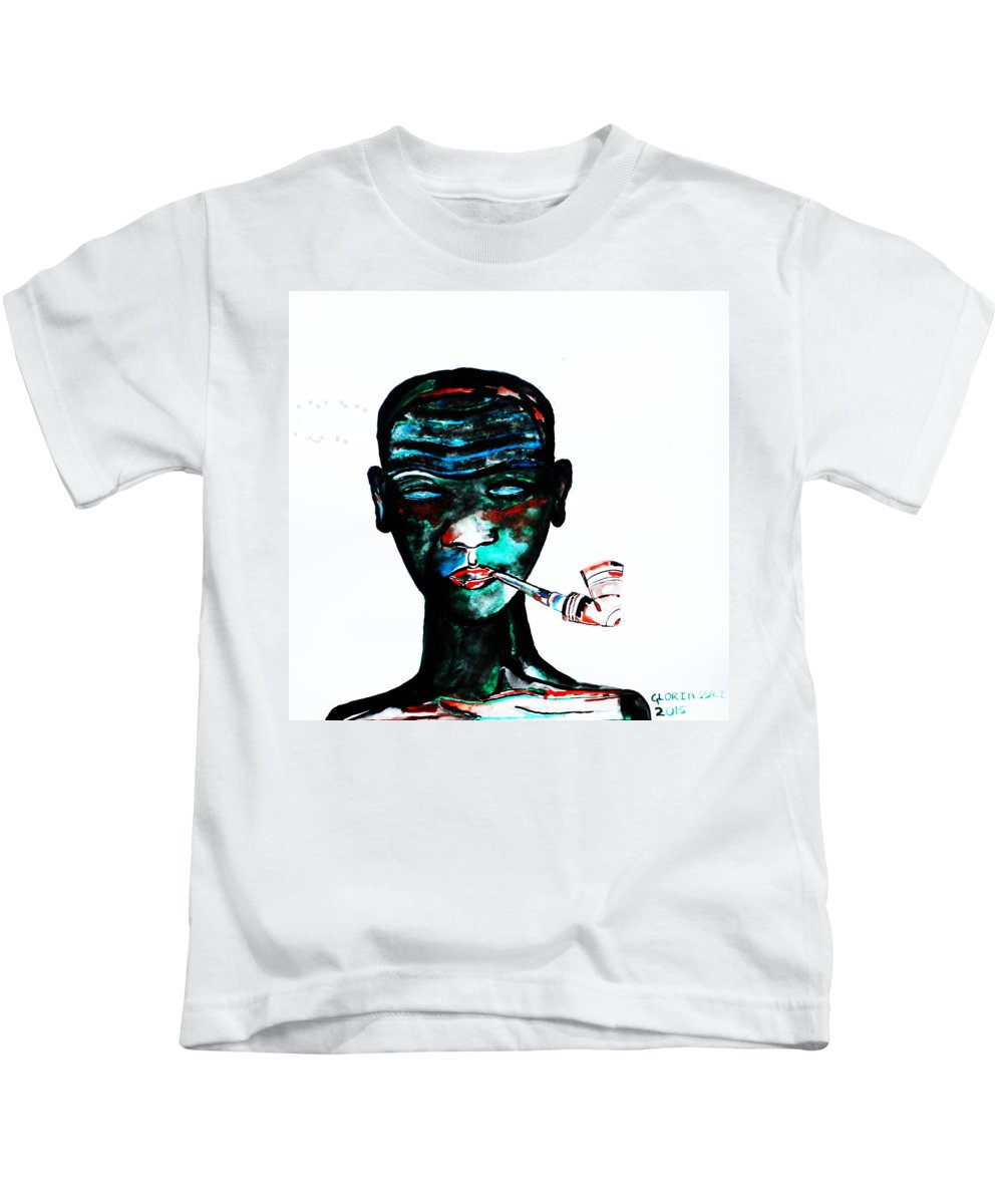 Jesus Kids T-Shirt featuring the painting Nuer Lady With Pipe - South Sudan by Gloria Ssali