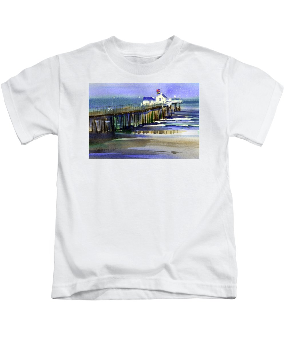 Ocean Kids T-Shirt featuring the painting Ocean City Fishing Club by Lee Klingenberg