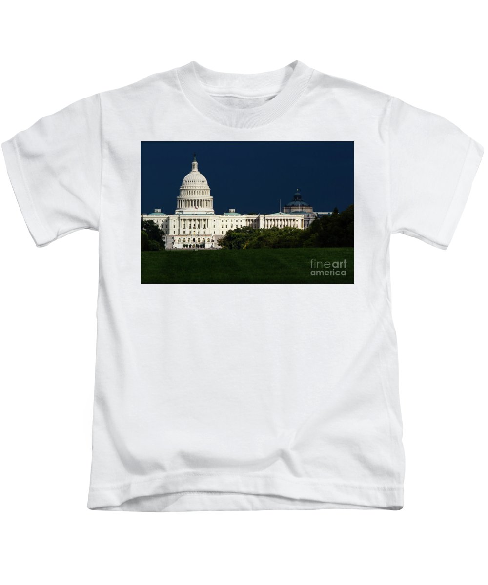 Washington Dc Kids T-Shirt featuring the photograph October Capitol by Doug Sturgess