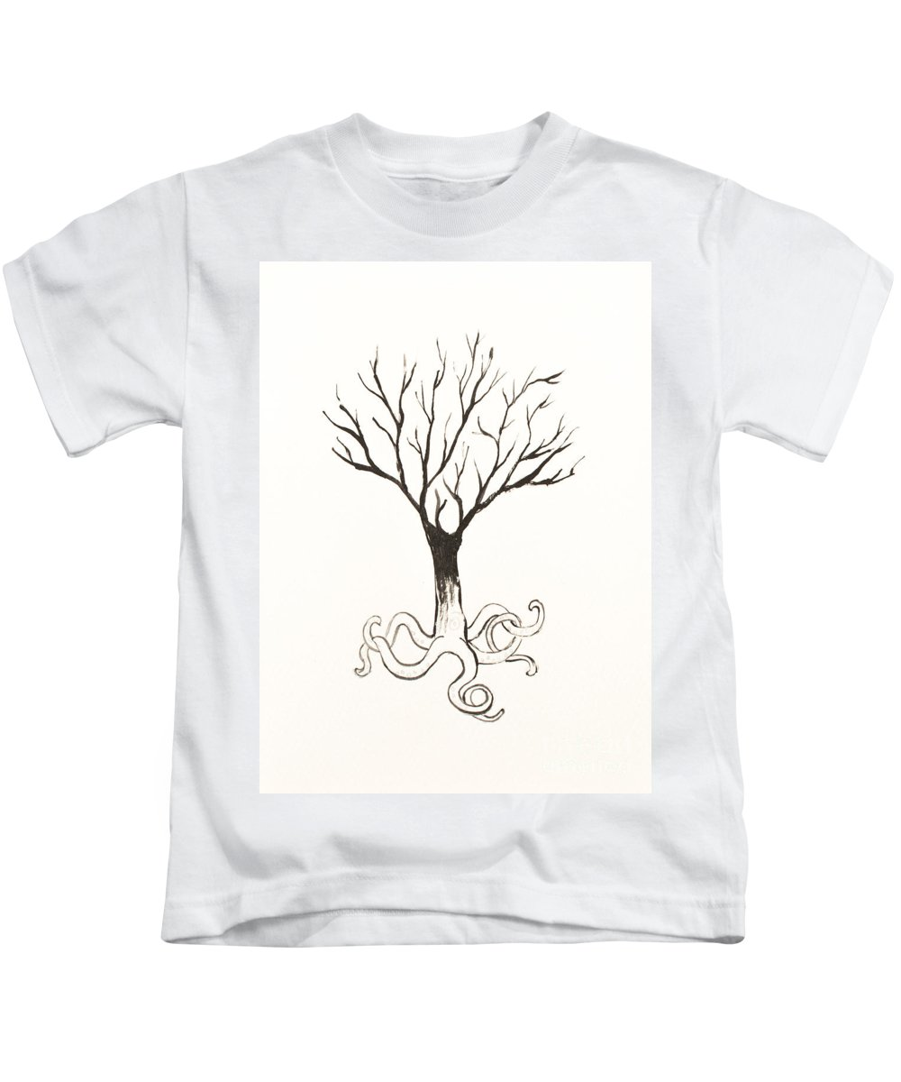 Tree Kids T-Shirt featuring the painting Octopus Tree by Stefanie Forck