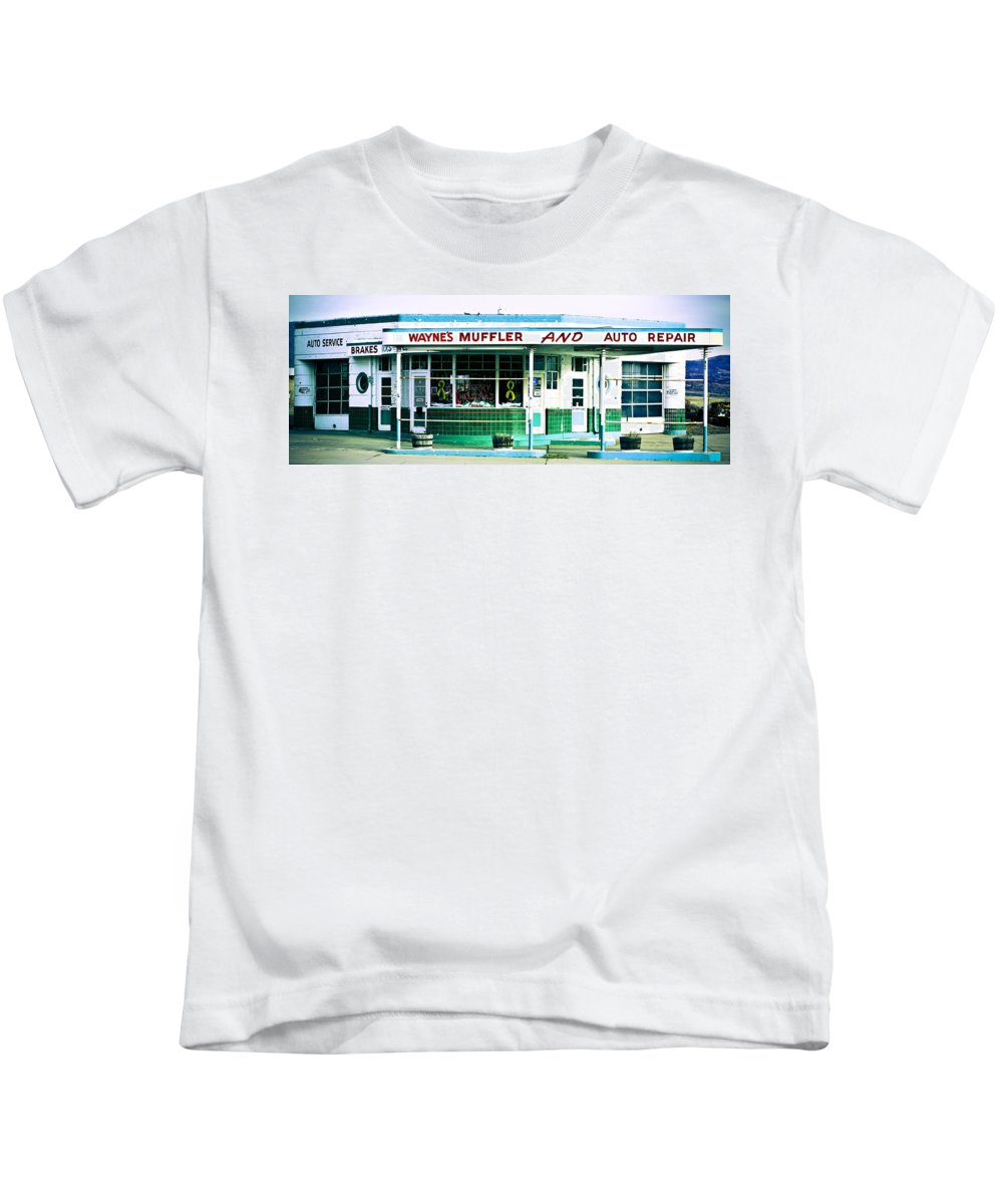 Americana Kids T-Shirt featuring the photograph Old Gas Station Green Tile by Marilyn Hunt